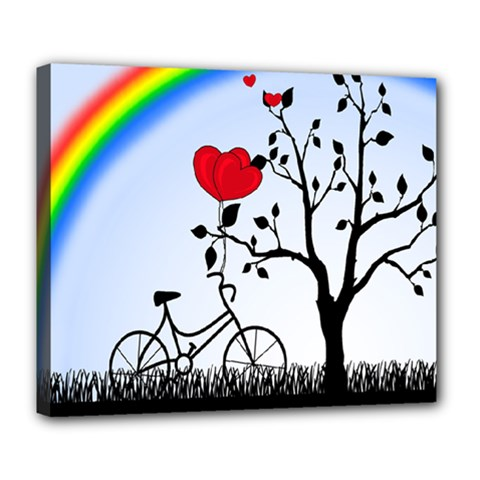 Love Hill   Rainbow Deluxe Canvas 24  X 20   by Valentinaart