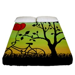 Love Sunrise Fitted Sheet (queen Size) by Valentinaart