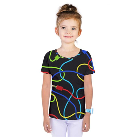 Audio Cables  Kids  One Piece Tee by Valentinaart
