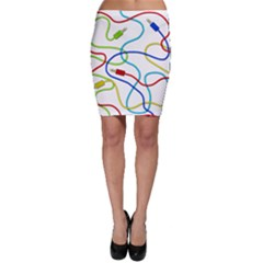 Colorful Audio Cables Bodycon Skirt by Valentinaart