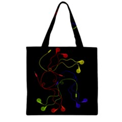Colorful Earphones Zipper Grocery Tote Bag by Valentinaart
