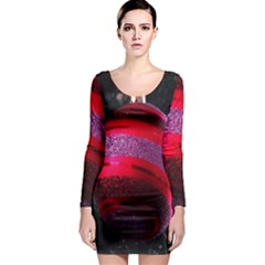 Glass Ball Decorated Beautiful Red Long Sleeve Bodycon Dress by Nexatart