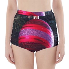 Glass Ball Decorated Beautiful Red High Waisted Bikini Bottoms by Nexatart