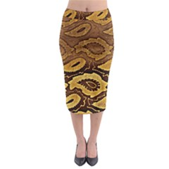 Golden Patterned Paper Midi Pencil Skirt