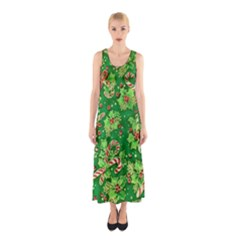 Green Holly Sleeveless Maxi Dress