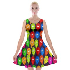 Happy Balloons Velvet Skater Dress by Nexatart
