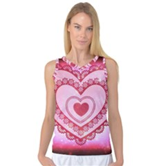 Heart Background Lace Women s Basketball Tank Top by Nexatart