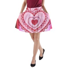 Heart Background Lace A Line Pocket Skirt