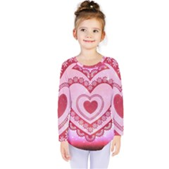 Heart Background Lace Kids  Long Sleeve Tee