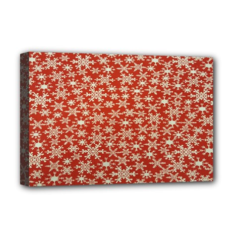 Holiday Snow Snowflakes Red Deluxe Canvas 18  X 12   by Nexatart