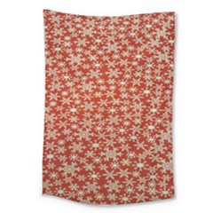 Holiday Snow Snowflakes Red Large Tapestry by Nexatart