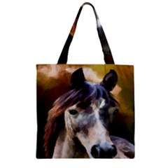 Horse Horse Portrait Animal Zipper Grocery Tote Bag by Nexatart