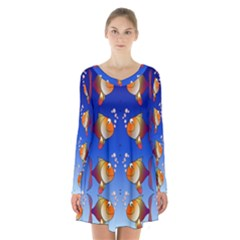Illustration Fish Pattern Long Sleeve Velvet V-neck Dress