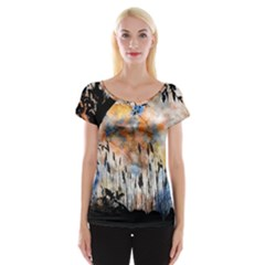 Landscape Sunset Sky Summer Women s Cap Sleeve Top by Nexatart
