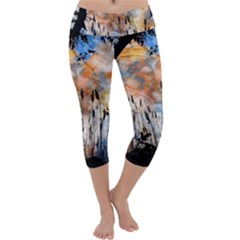 Landscape Sunset Sky Summer Capri Yoga Leggings by Nexatart