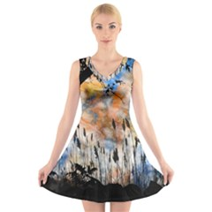 Landscape Sunset Sky Summer V Neck Sleeveless Skater Dress by Nexatart