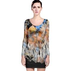 Landscape Sunset Sky Summer Long Sleeve Velvet Bodycon Dress by Nexatart