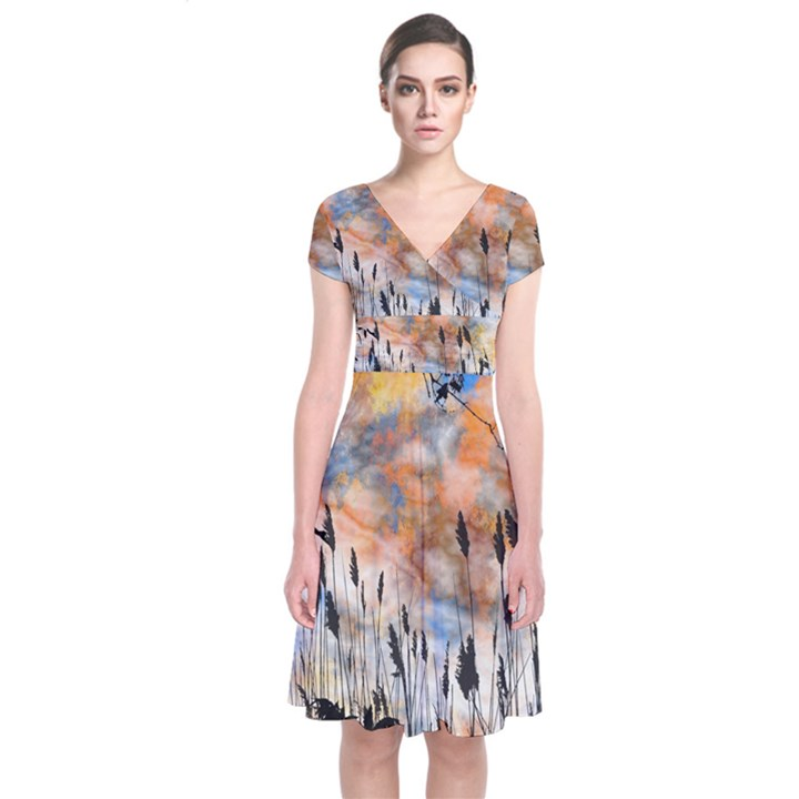 Landscape Sunset Sky Summer Short Sleeve Front Wrap Dress