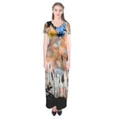 Landscape Sunset Sky Summer Short Sleeve Maxi Dress by Nexatart