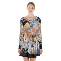 Landscape Sunset Sky Summer Long Sleeve Velvet V Neck Dress by Nexatart