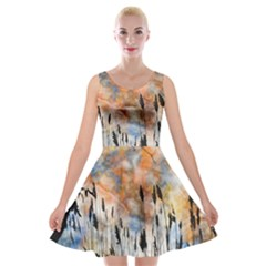 Landscape Sunset Sky Summer Velvet Skater Dress by Nexatart