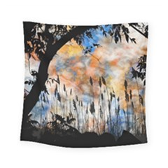 Landscape Sunset Sky Summer Square Tapestry (small) by Nexatart