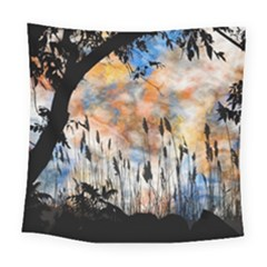 Landscape Sunset Sky Summer Square Tapestry (large) by Nexatart