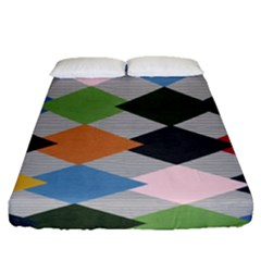 Leather Colorful Diamond Design Fitted Sheet (queen Size) by Nexatart