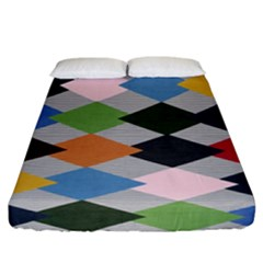 Leather Colorful Diamond Design Fitted Sheet (california King Size) by Nexatart