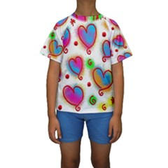 Love Hearts Shapes Doodle Art Kids  Short Sleeve Swimwear by Nexatart