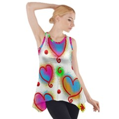 Love Hearts Shapes Doodle Art Side Drop Tank Tunic by Nexatart