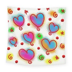 Love Hearts Shapes Doodle Art Square Tapestry (large) by Nexatart