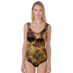 Leaves Autumn Texture Brown Princess Tank Leotard  by Nexatart