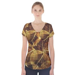 Leaves Autumn Texture Brown Short Sleeve Front Detail Top by Nexatart