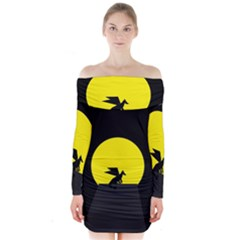 Moon And Dragon Dragon Sky Dragon Long Sleeve Off Shoulder Dress by Nexatart
