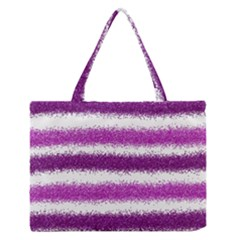 Metallic Pink Glitter Stripes Medium Zipper Tote Bag by Nexatart