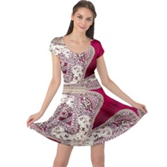 Morocco Motif Pattern Travel Cap Sleeve Dresses
