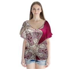 Morocco Motif Pattern Travel Flutter Sleeve Top by Nexatart