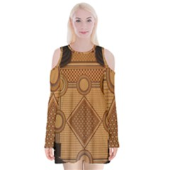 Mosaic The Elaborate Floor Pattern Of The Sydney Queen Victoria Building Velvet Long Sleeve Shoulder Cutout Dress by Nexatart