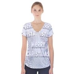 Oints Circle Christmas Merry Short Sleeve Front Detail Top by Nexatart