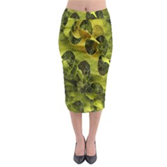 Olive Seamless Camouflage Pattern Midi Pencil Skirt