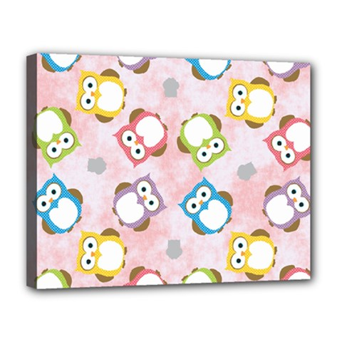 Owl Bird Cute Pattern Canvas 14  X 11  by Nexatart