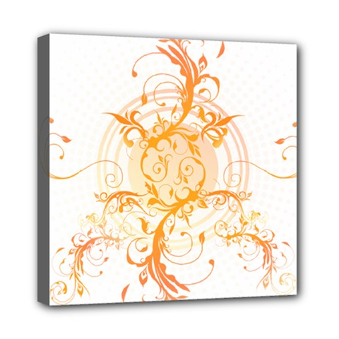 Orange Swirls Mini Canvas 8  X 8  by SheGetsCreative