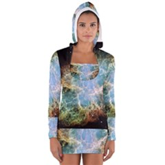Crab Nebula Women s Long Sleeve Hooded T Shirt by SheGetsCreative