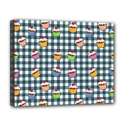 Cupcakes Plaid Pattern Deluxe Canvas 20  X 16   by Valentinaart