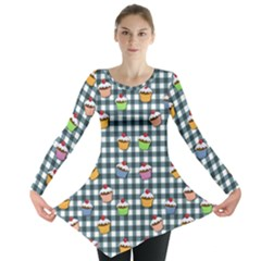 Cupcakes Plaid Pattern Long Sleeve Tunic  by Valentinaart