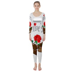 Valentine s Day Gift Long Sleeve Catsuit by Valentinaart