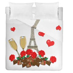 Romance In Paris Duvet Cover Double Side (queen Size) by Valentinaart