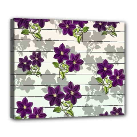 Purple Vintage Flowers Deluxe Canvas 24  X 20   by Valentinaart