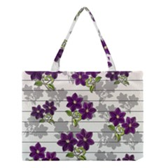 Purple Vintage Flowers Medium Tote Bag by Valentinaart